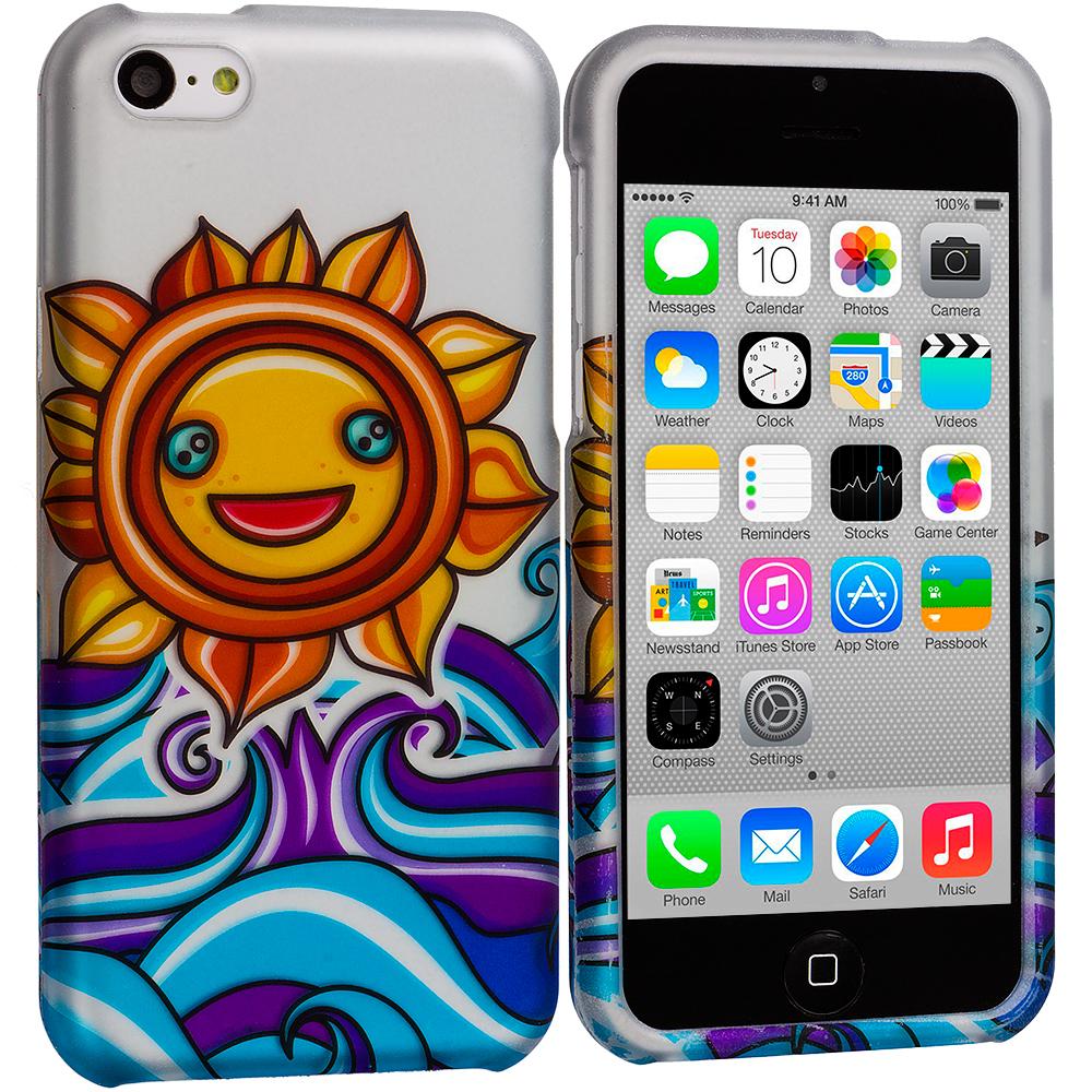 Apple iPhone 5C Sunrise on the Sea Hard Rubberized Design Case Cover