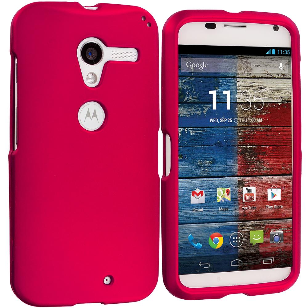Motorola Moto X Hot Pink Hard Rubberized Case Cover