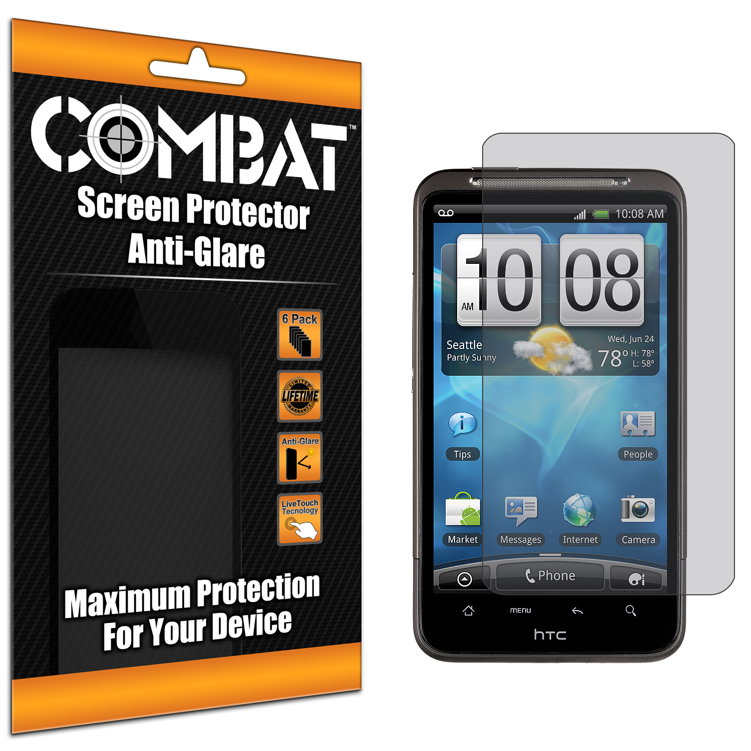 HTC Inspire 4G Combat 6 Pack Anti-Glare Matte Screen Protector