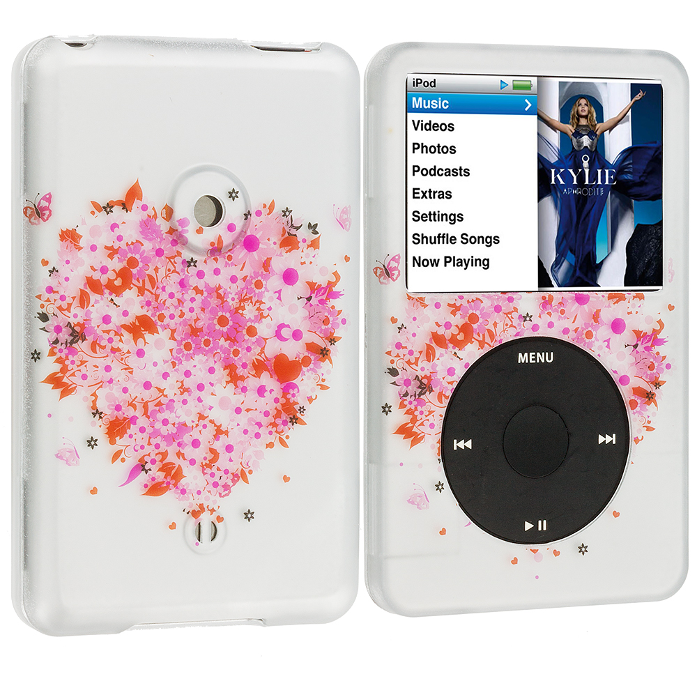 Apple iPod Classic Hearts Full of Flowers Hard Rubberized Design Case Cover