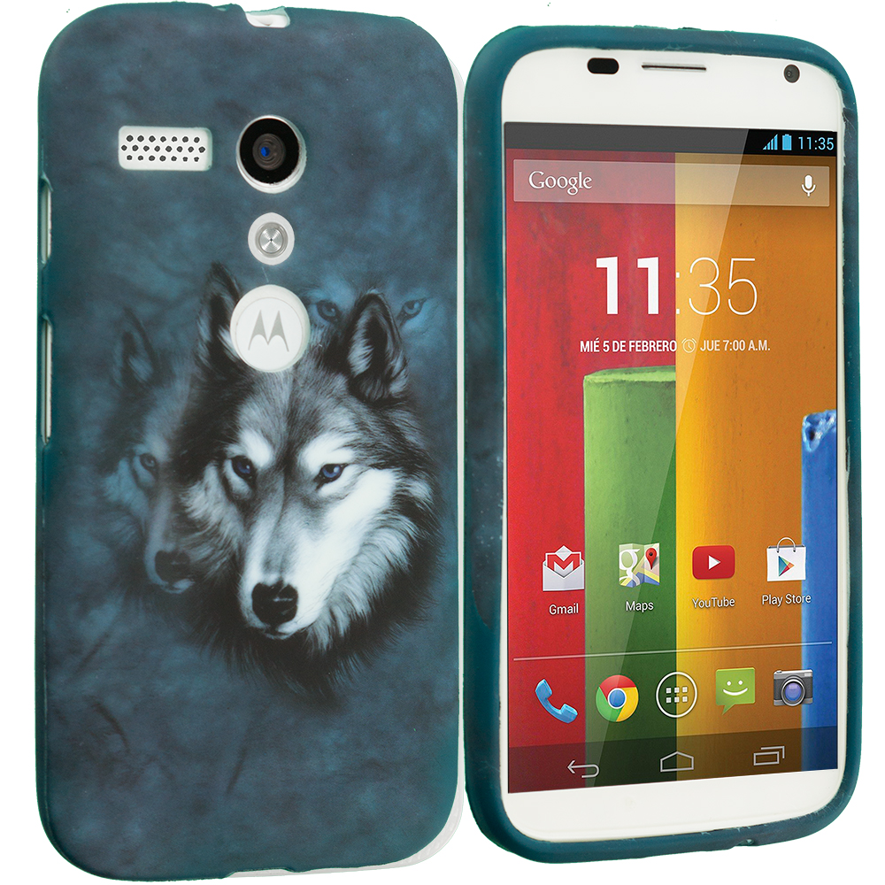 Motorola Moto G 2 in 1 Combo Bundle Pack - White Wolf Tiger TPU Design Soft Case Cover : Color Wolf