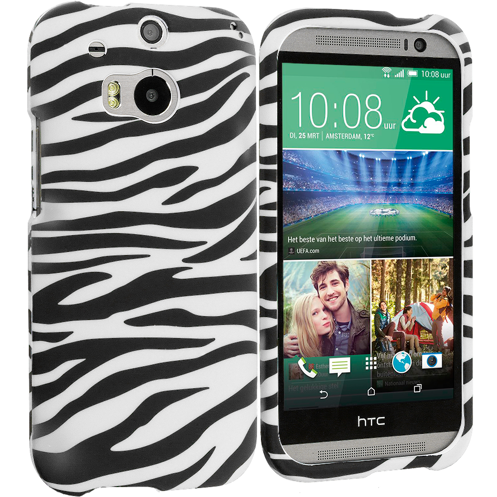 HTC One M8 Black/White Zebra Hard Rubberized Design Case Cover
