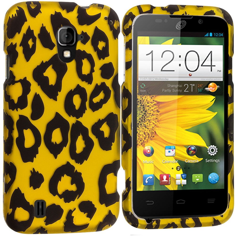 ZTE Majesty Z796C Black Leopard on Golden 2D Hard Rubberized Design Case Cover
