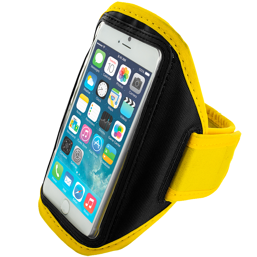 Apple iPhone 6 6S (4.7) 4 in 1 Combo Bundle Pack - Running Sports Gym Armband : Color Yellow