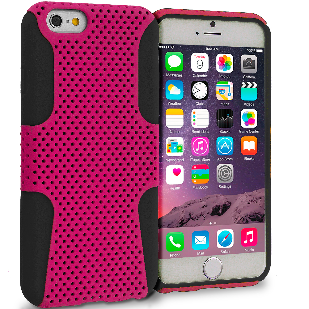 Apple iPhone 6 5 in 1 Bundle - Hybrid Mesh Hard/Soft Case Cover : Color Black / Hot Pink