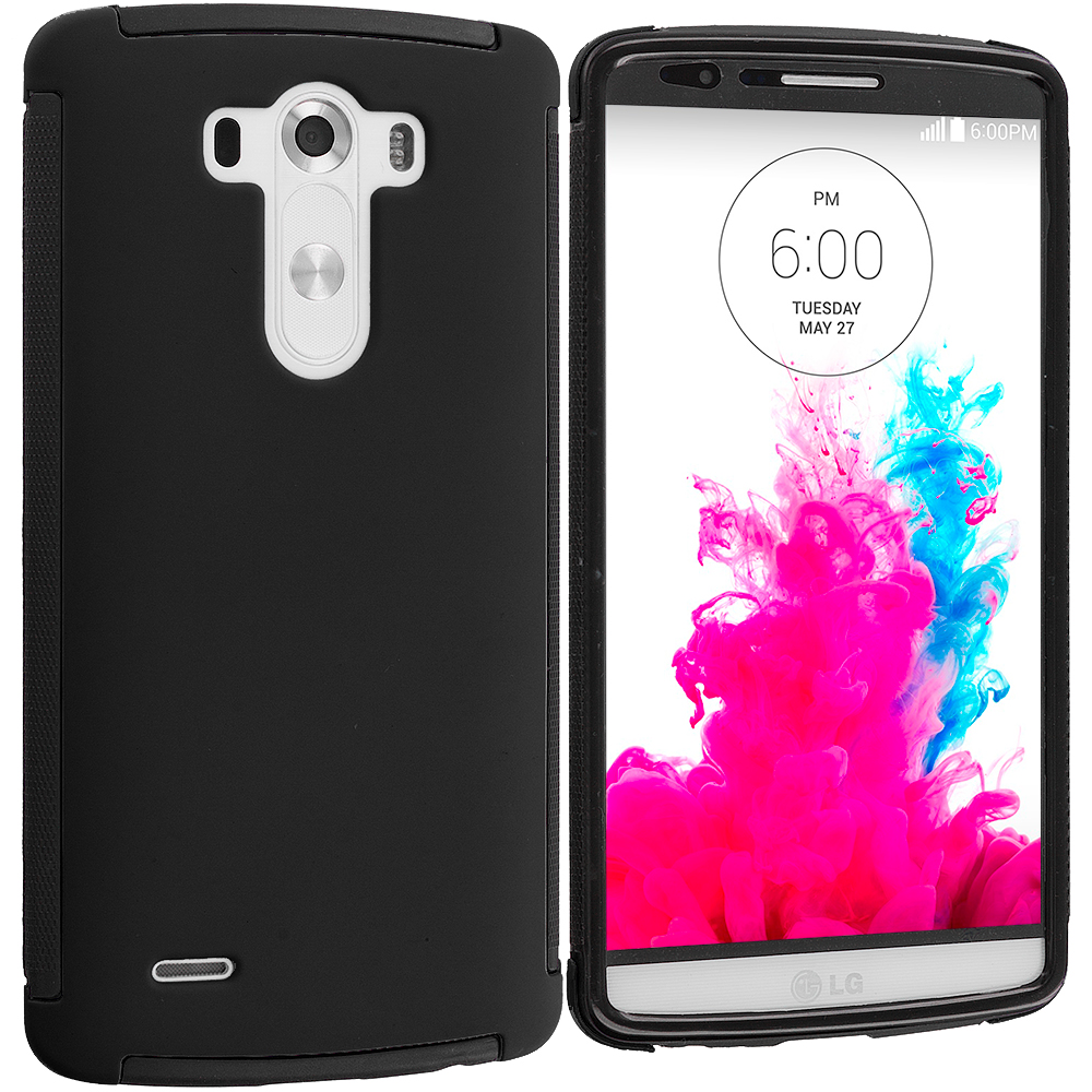 LG G3 Black / Black Hybrid Hard TPU Shockproof Case Cover With Built in Screen Protector