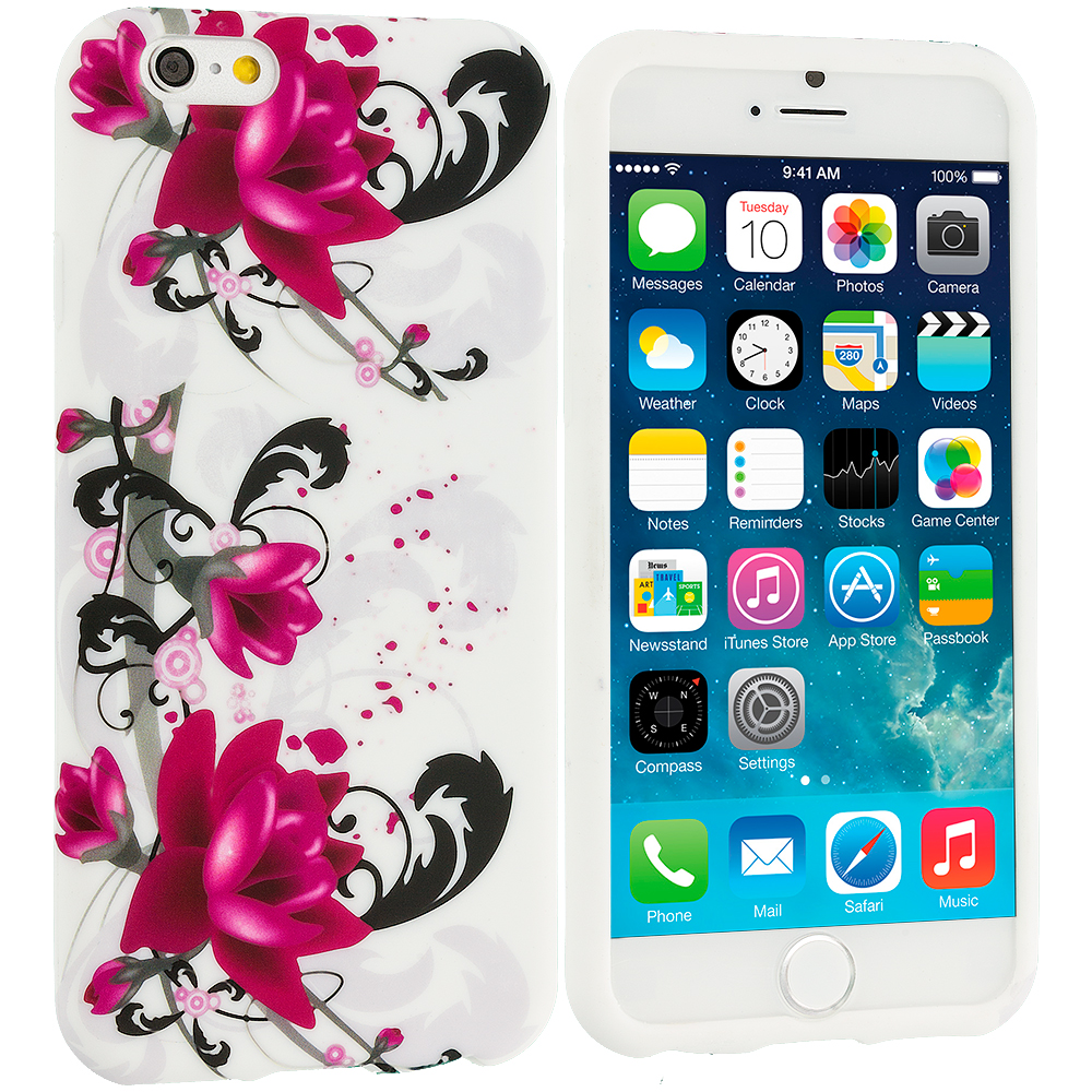 Apple iPhone 6 Plus 6S Plus (5.5) Red Flowers TPU Design Soft Rubber Case Cover