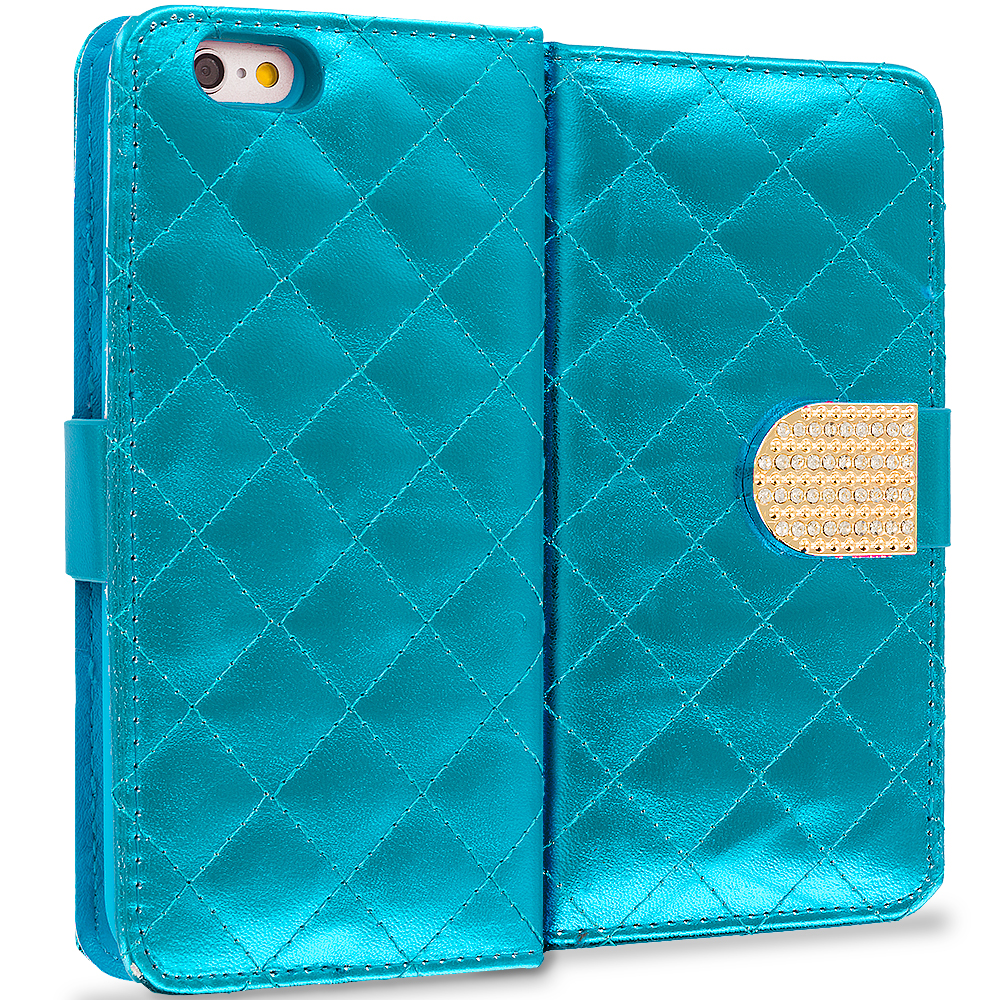 Apple iPhone 6 6S (4.7) Teal Luxury Wallet Diamond Design Case Cover With Slots
