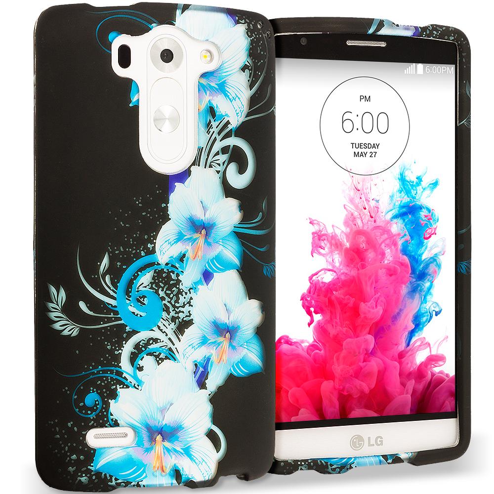 LG G3 Vigor D725 G3s Blue Flowers 2D Hard Rubberized Design Case Cover