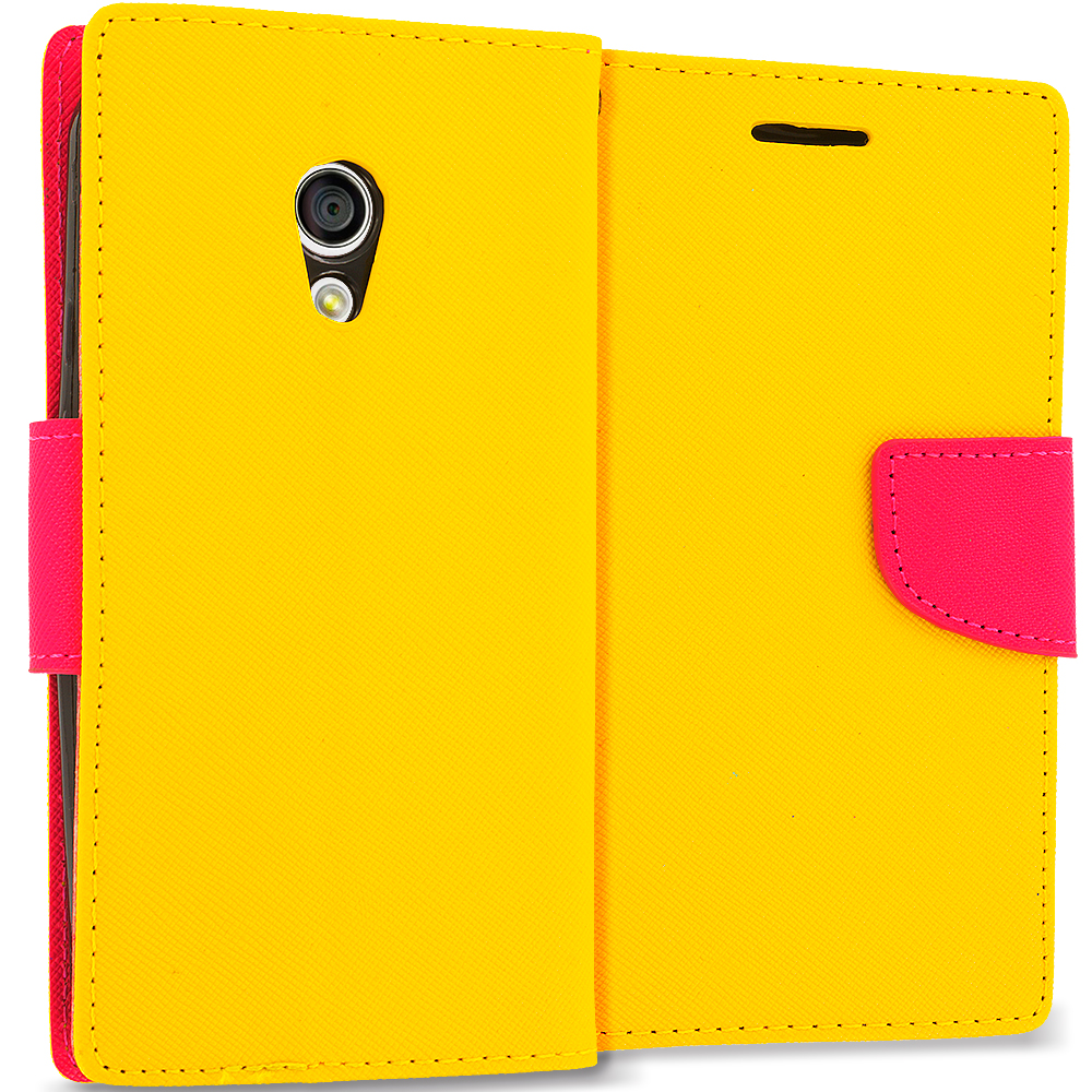 Motorola Moto G 2nd Gen 2014 Yellow / Hot Pink Leather Flip Wallet Pouch TPU Case Cover with ID Card Slots