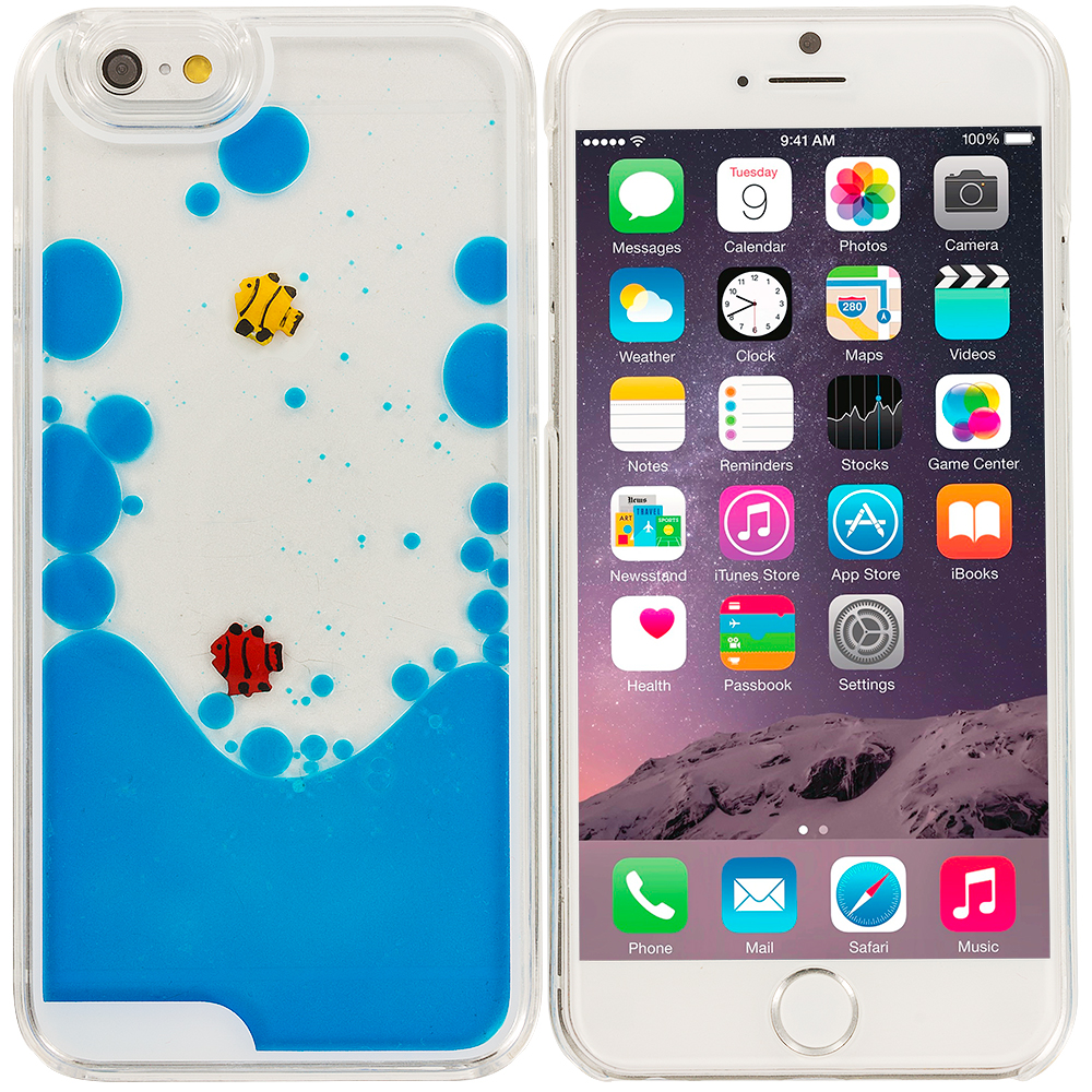 Apple iPhone 6 Plus 6S Plus (5.5) Blue Fish Tank 3D Liquid Hard Case Cover