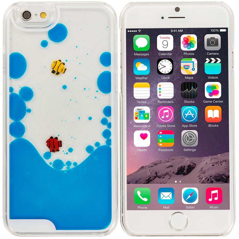 Apple iPhone 6 Plus Blue Fish Tank 3D Liquid Hard Case Cover