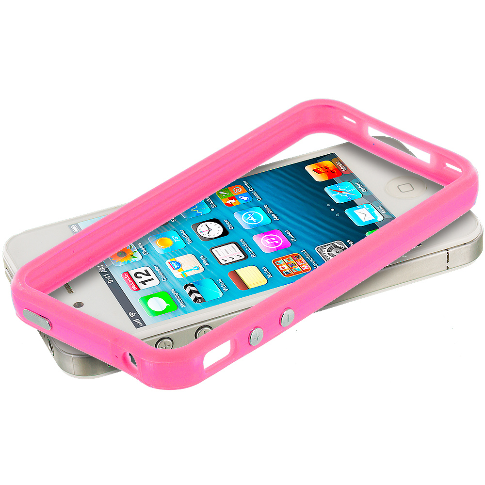 Apple iPhone 5/5S/SE Combo Pack : Light Pink TPU Bumper Frame Case Cover : Color Light Pink
