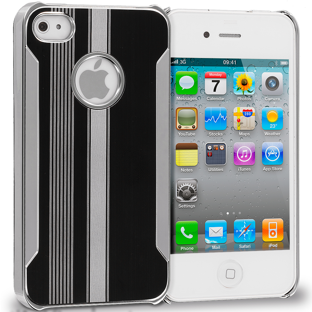 Apple iPhone 4 / 4S Black / Silver Aluminum Metal Hard Case Cover