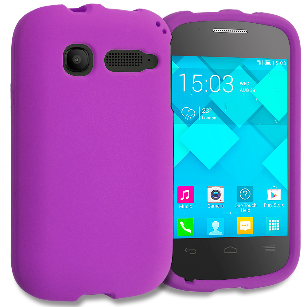 Alcatel One Touch Pop C1 Purple Hard Rubberized Case Cover