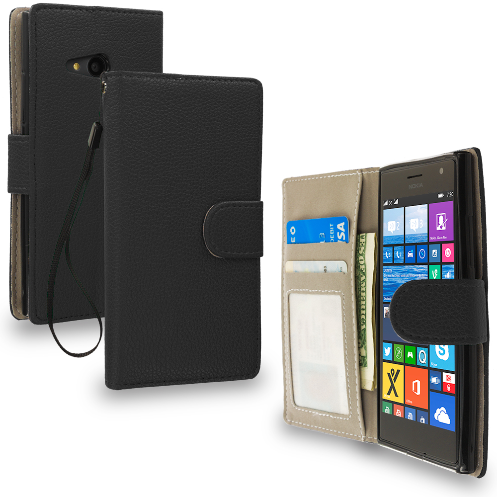 Nokia Lumia 730 735 Black Leather Wallet Pouch Case Cover with Slots
