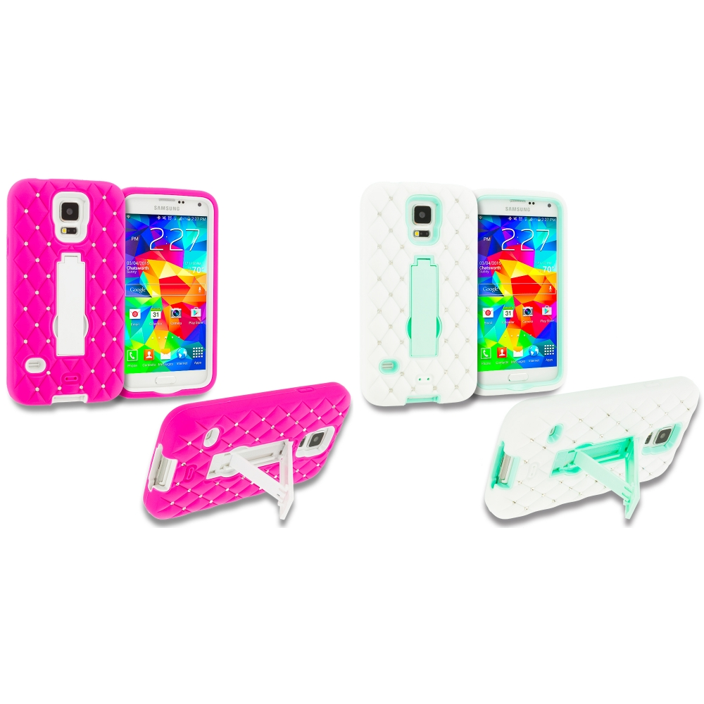 Samsung Galaxy S5 2 in 1 Combo Bundle Pack - Hot Pink / Mint Green Hybrid Diamond Bling Hard Soft Case Cover with Kickstand