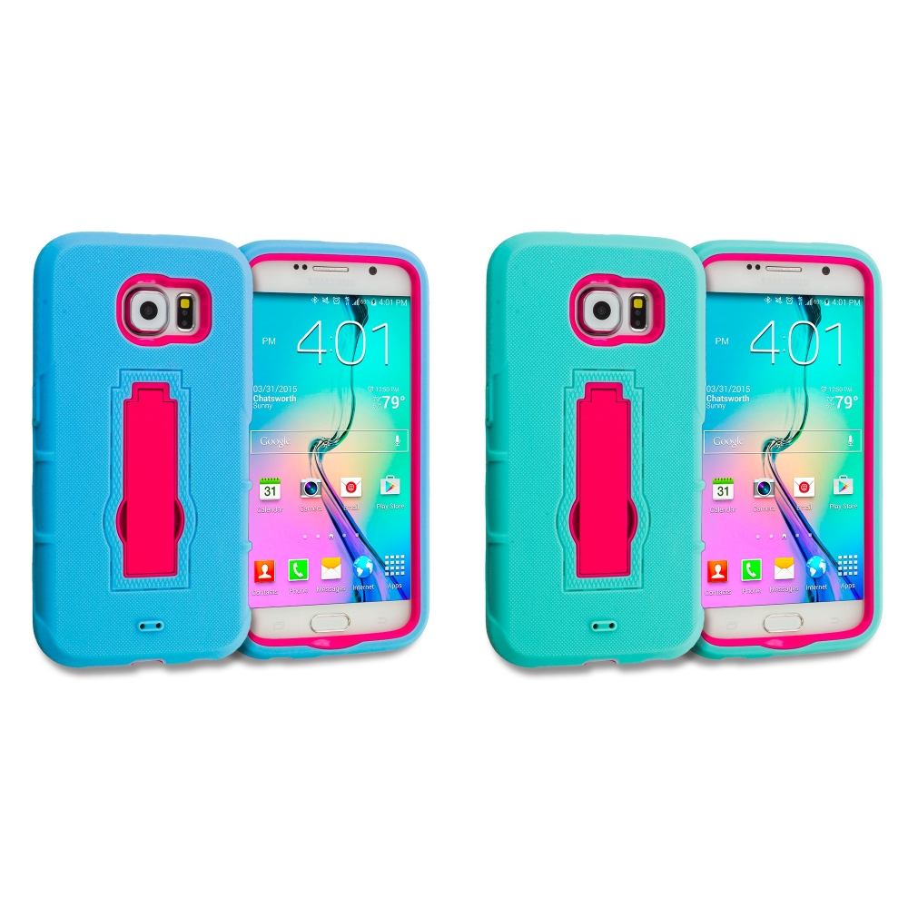 Samsung Galaxy S6 Combo Pack : Baby Blue / Hot Pink Hybrid Heavy Duty Hard Soft Case Cover with Kickstand