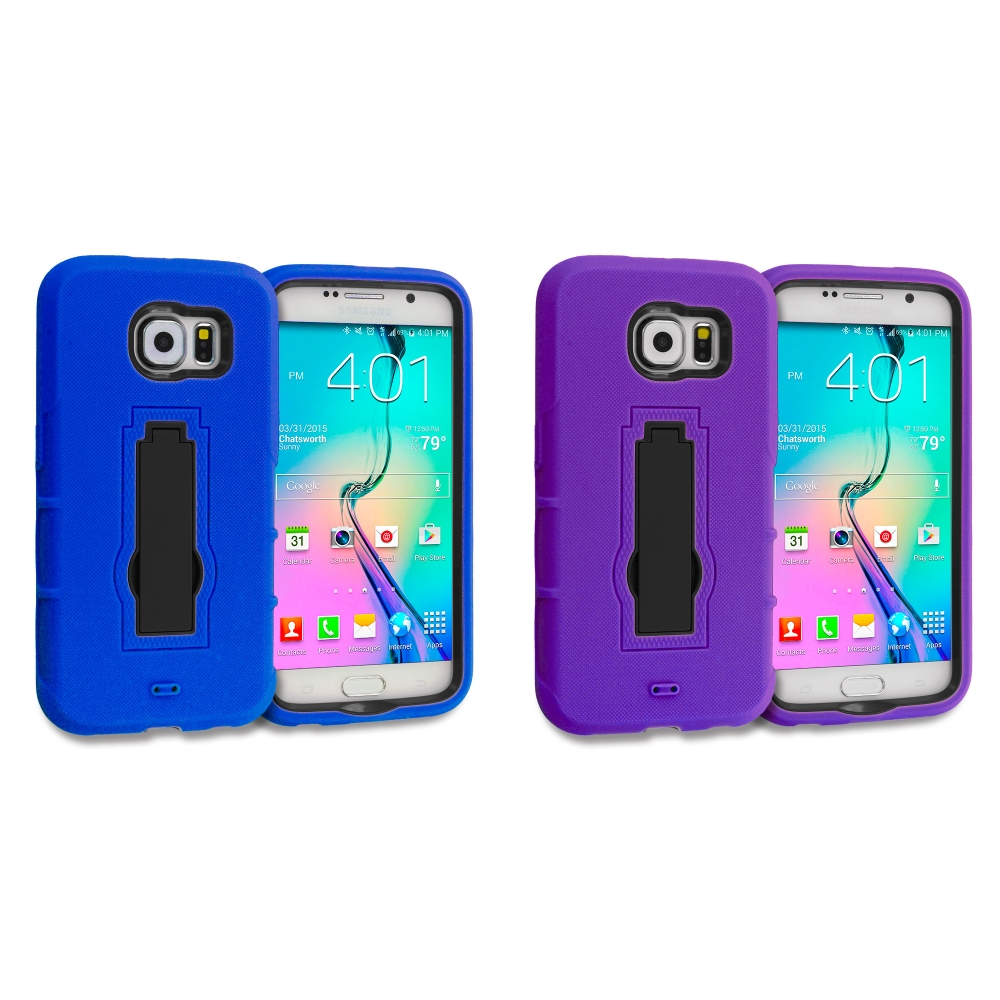 Samsung Galaxy S6 Combo Pack : Blue / Black Hybrid Heavy Duty Hard Soft Case Cover with Kickstand