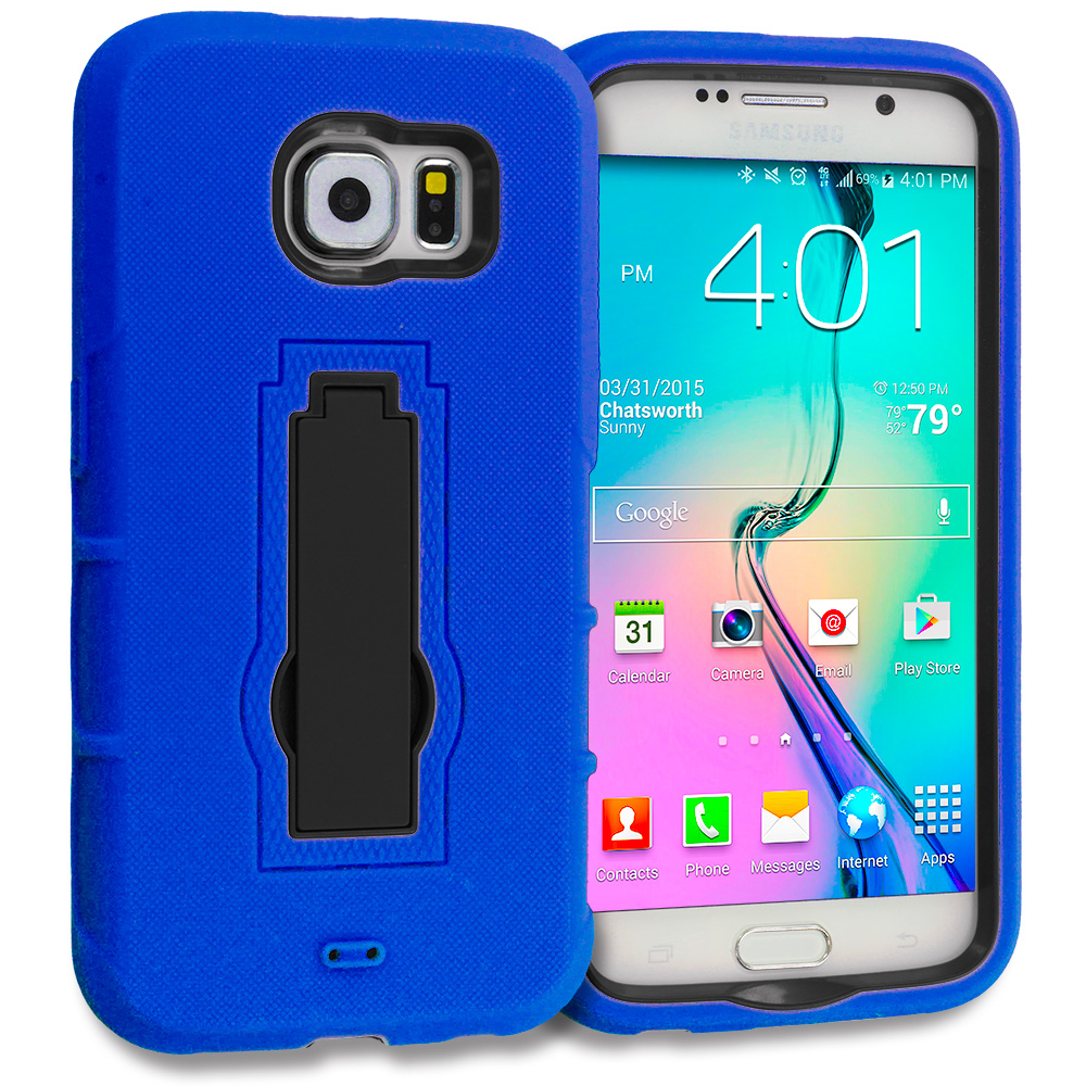 Samsung Galaxy S6 Combo Pack : Blue / Black Hybrid Heavy Duty Hard Soft Case Cover with Kickstand : Color Blue / Black