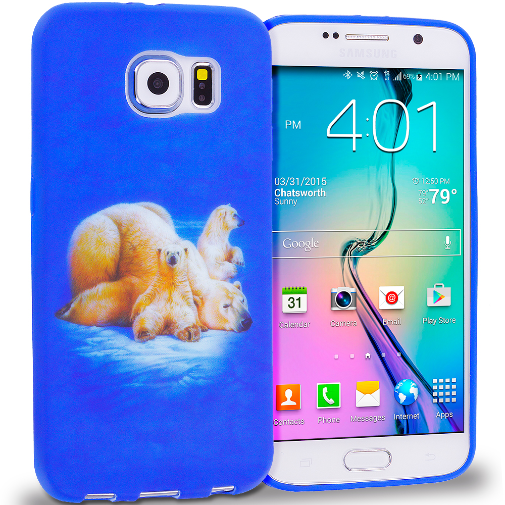 Samsung Galaxy S6 Combo Pack : Tiger TPU Design Soft Rubber Case Cover : Color Polar Bear