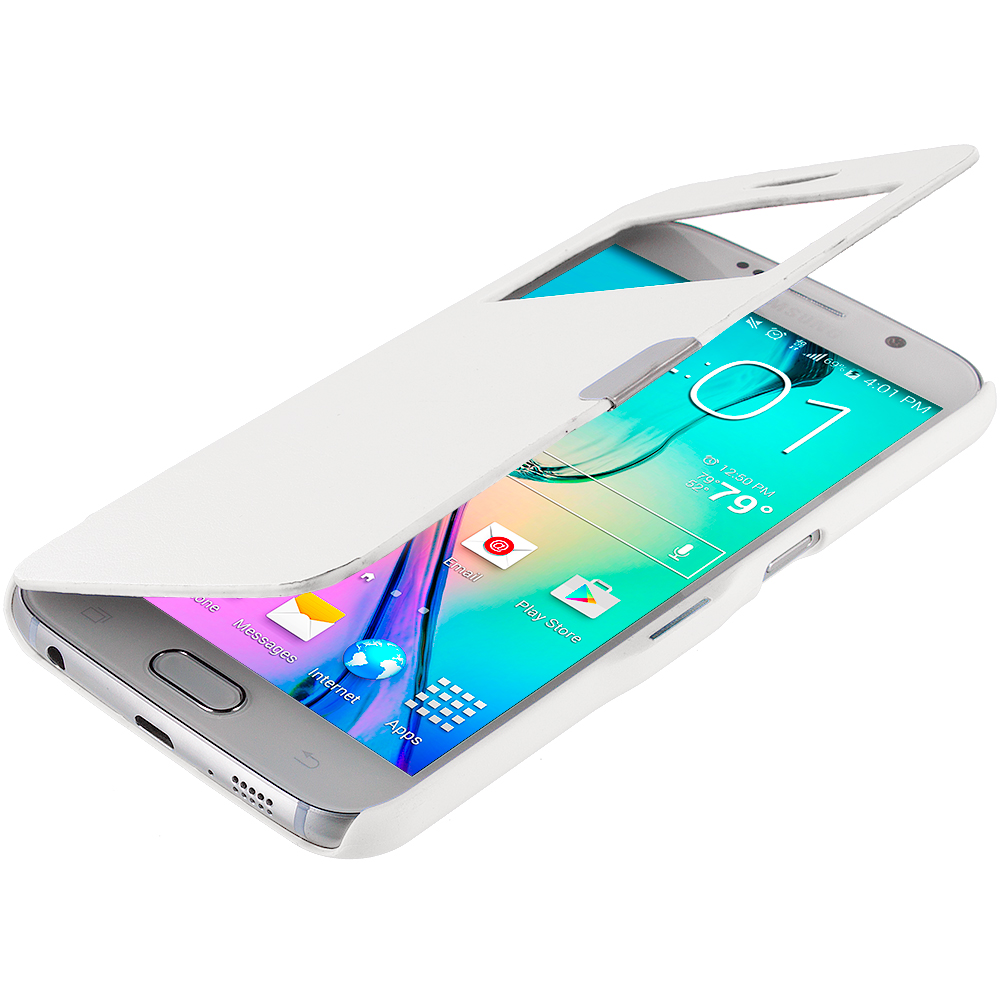 Samsung Galaxy S6 Combo Pack : White Window Magnetic Flip Wallet Case Cover Pouch : Color White Window
