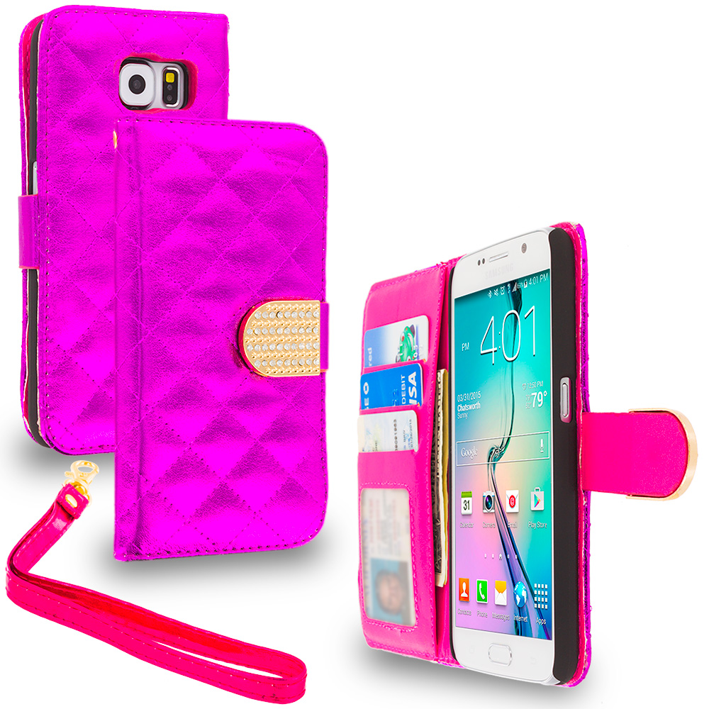 Samsung Galaxy S6 Hot Pink Luxury Wallet Diamond Design Case Cover With Slots