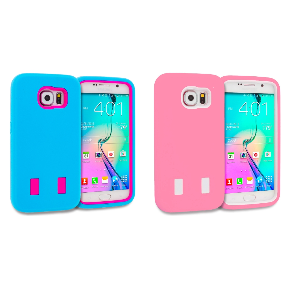 Samsung Galaxy S6 Combo Pack : Baby Blue / Hot Pink Hybrid Deluxe Hard/Soft Case Cover