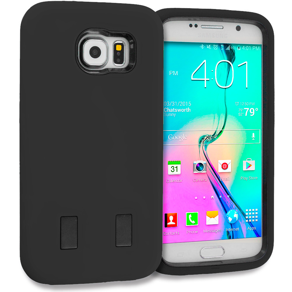 Samsung Galaxy S6 Combo Pack : Black / Black Hybrid Deluxe Hard/Soft Case Cover : Color Black / Black