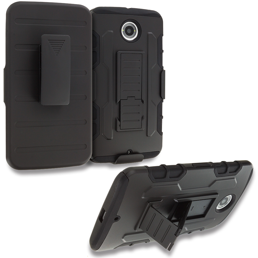 Motorola Google Nexus 6 Black Hybrid Rugged Robot Armor Heavy Duty Case Cover with Belt Clip Holster
