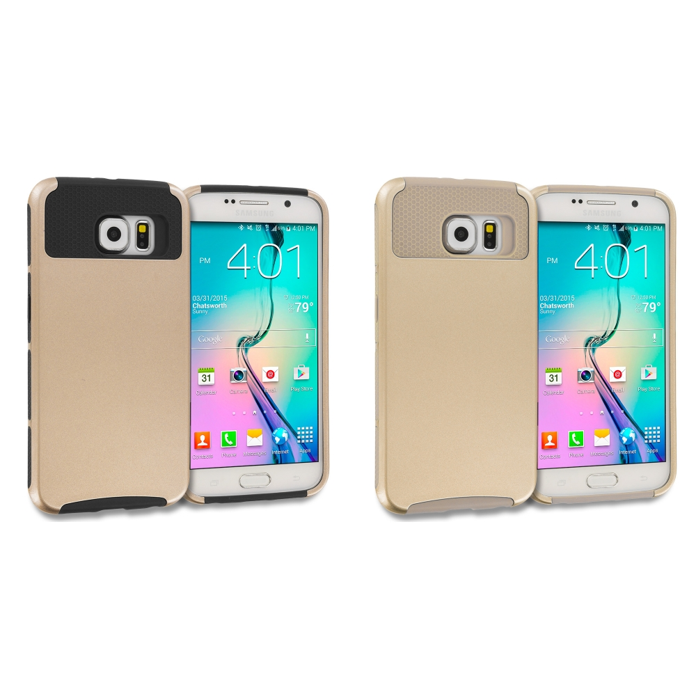 Samsung Galaxy S6 Combo Pack : Gold / Black Hybrid Hard TPU Honeycomb Rugged Case Cover