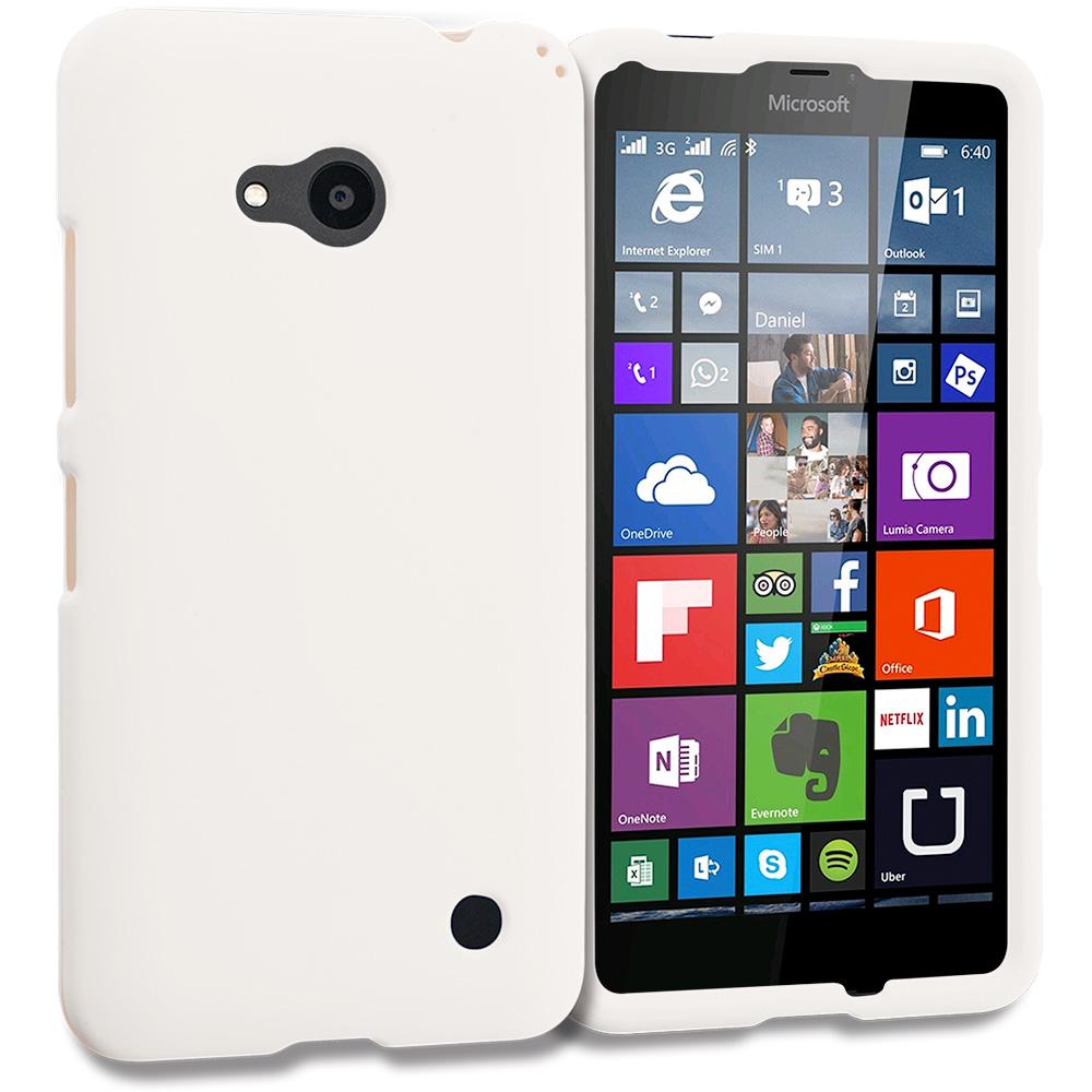 Microsoft Lumia 640 White Hard Rubberized Case Cover