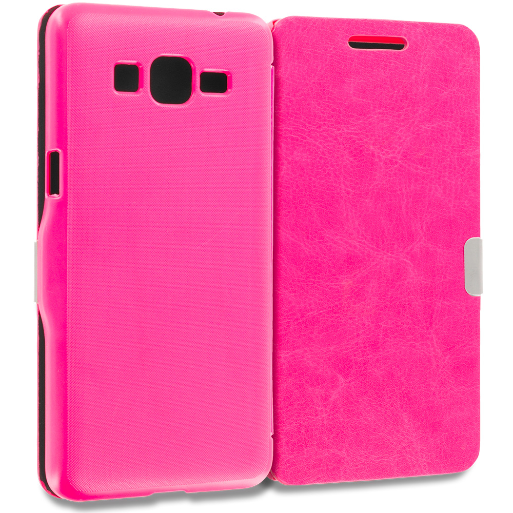 Samsung Galaxy Grand Prime LTE G530 2 in 1 Combo Bundle Pack - Purple Pink Magnetic Flip Wallet Case Pouch : Color Hot Pink