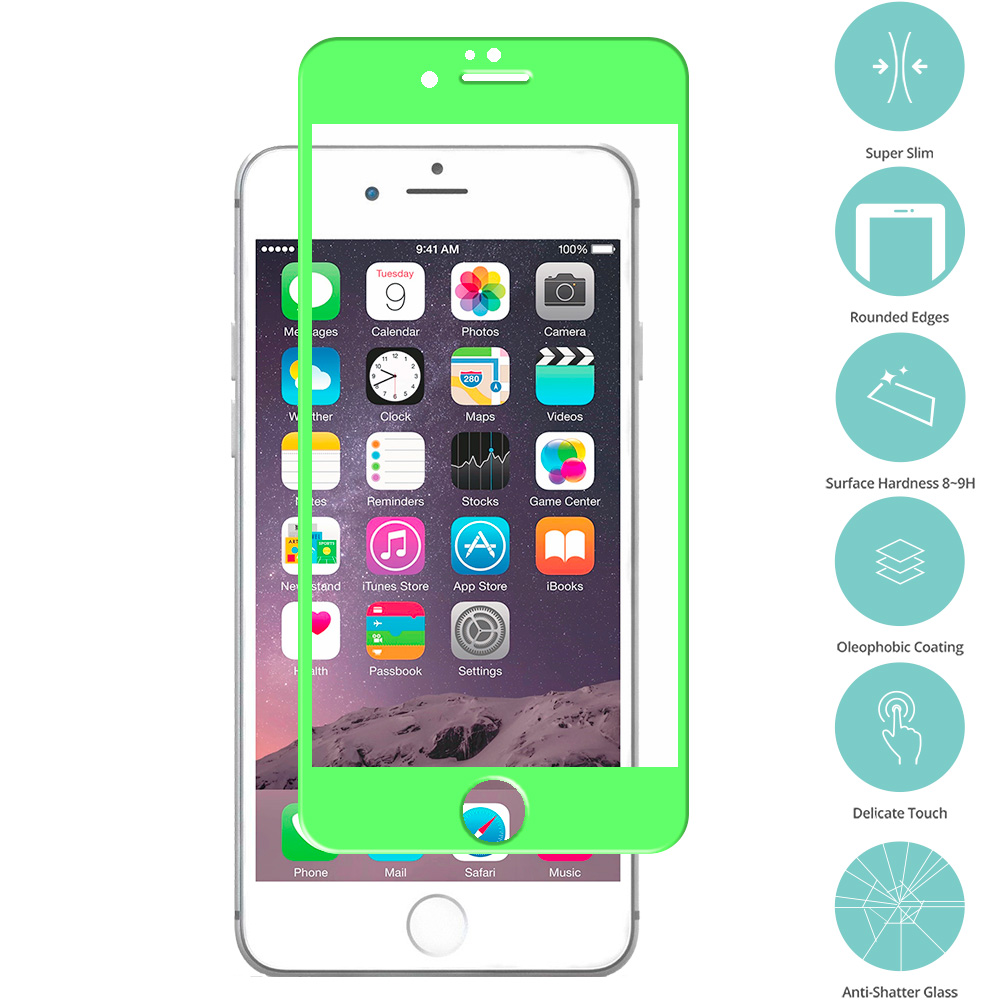 Apple iPhone 6 Plus 6S Plus (5.5) Neon Green Tempered Glass Film Screen Protector Colored