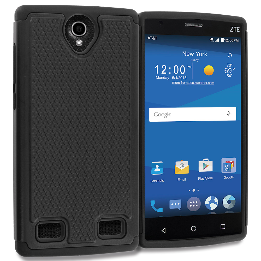 ZTE Zmax 2 Black Hybrid Rugged Grip Shockproof Case Cover