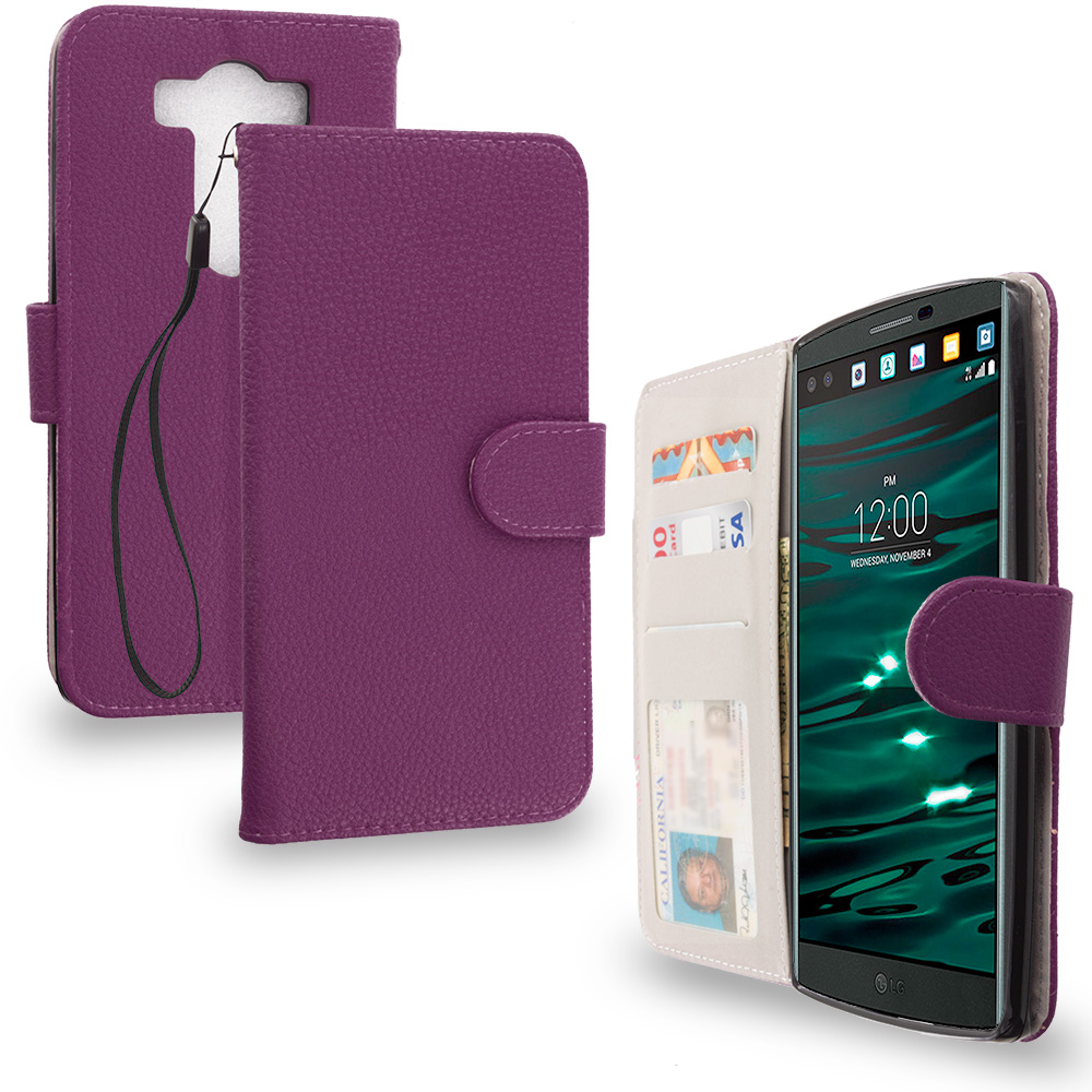 LG V10 Purple Leather Wallet Pouch Case Cover with Slots