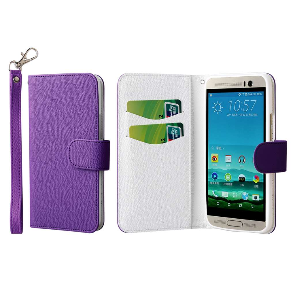 HTC One M9 Plus - Purple MPERO FLEX FLIP Wallet Case Cover