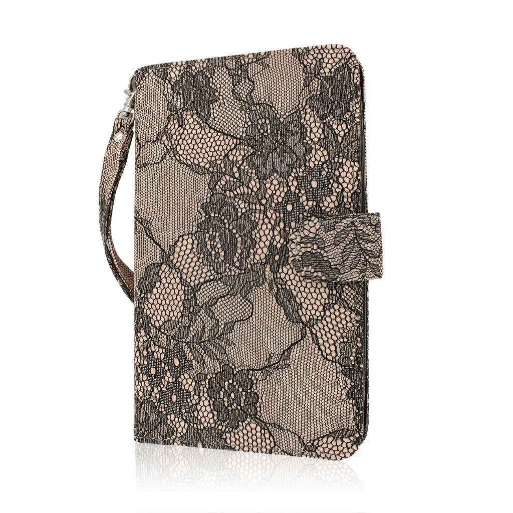 Samsung Galaxy Tab 4 7.0 - Black Lace MPERO FLEX FLIP Wallet Case Cover