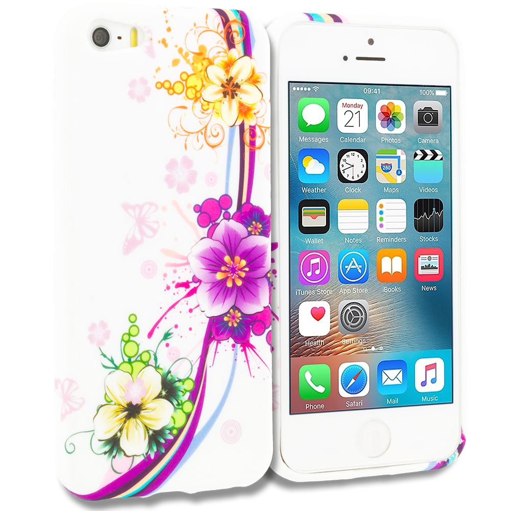 Apple iPhone 5/5S/SE Purple Flower Chain TPU Design Soft Rubber Case Cover