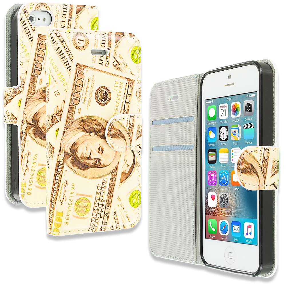 Apple iPhone 5/5S/SE Money Design Wallet Flip Pouch Case Cover with Credit Card ID Slots
