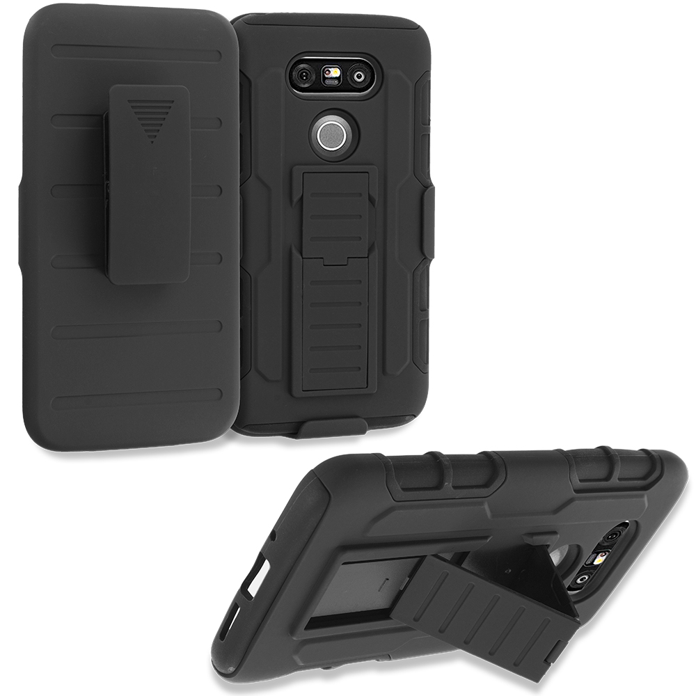 LG G5 Black Hybrid Shock Absorption Robot Armor Heavy Duty Case Cover with Belt Clip Holster