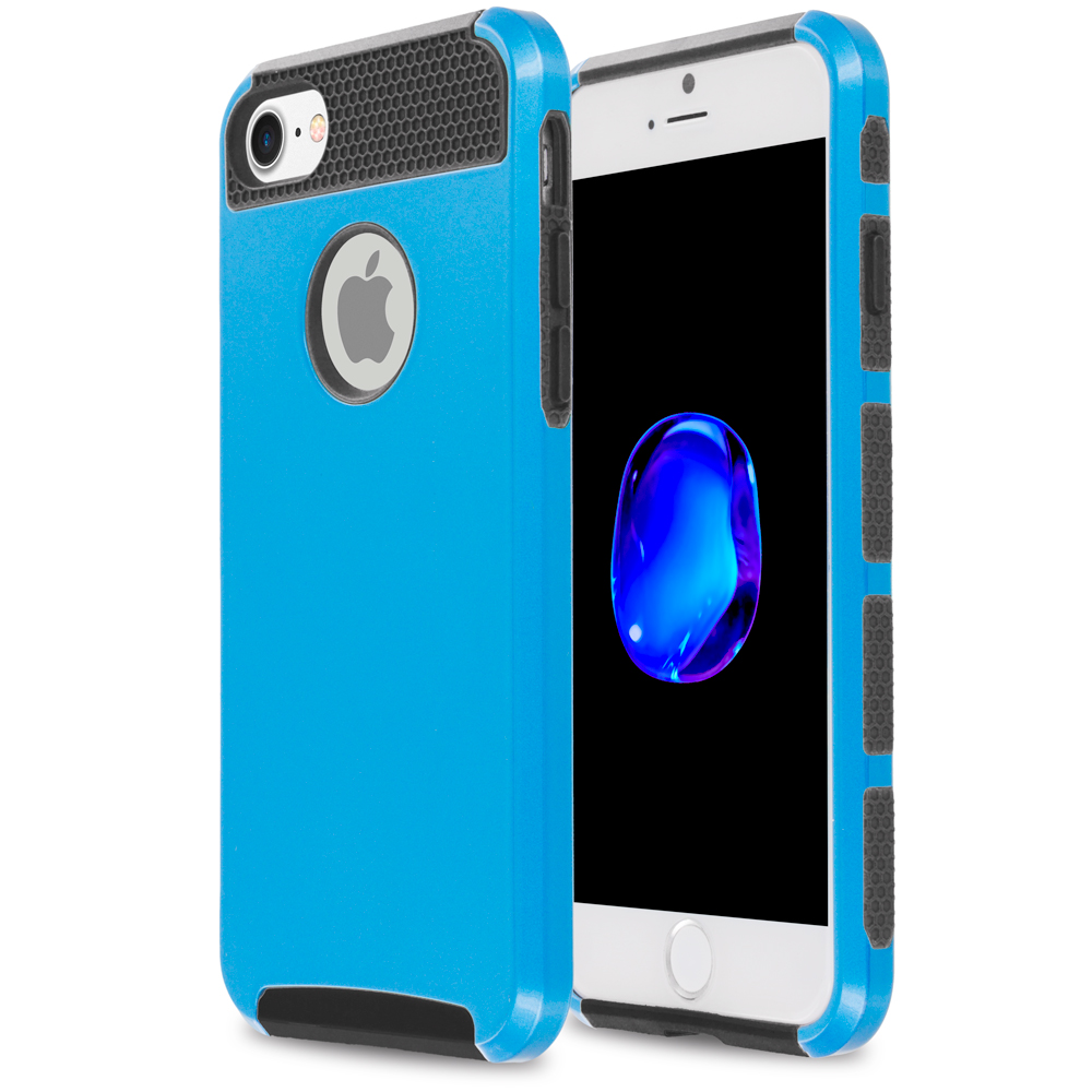 Apple iPhone 7 Plus Blue / Black Hybrid Hard TPU Honeycomb Rugged Case Cover