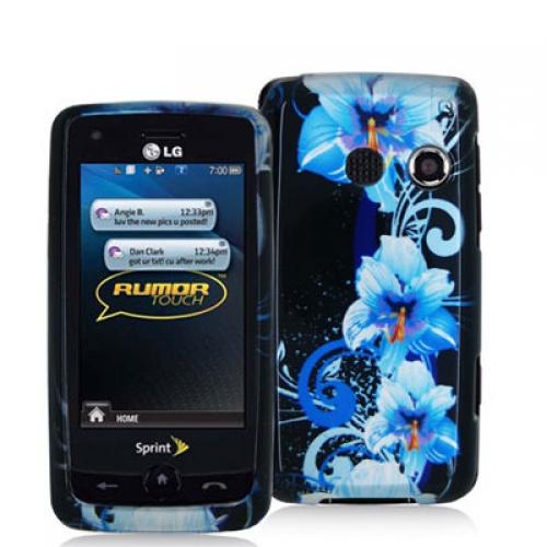 LG Rumor Touch LN510 Blue Flower Design Crystal Hard Case Cover