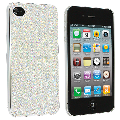 Apple iPhone 4 / 4S 2 in 1 Combo Bundle Pack - Silver Black Glitter Case Cover : Color Silver