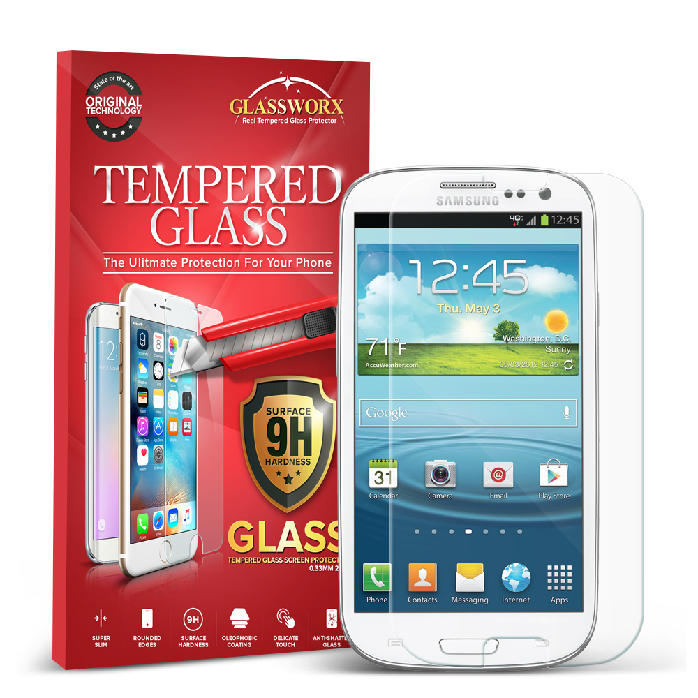 Samsung Galaxy S3 Clear GlassWorX HD Tempered Glass Screen Protector