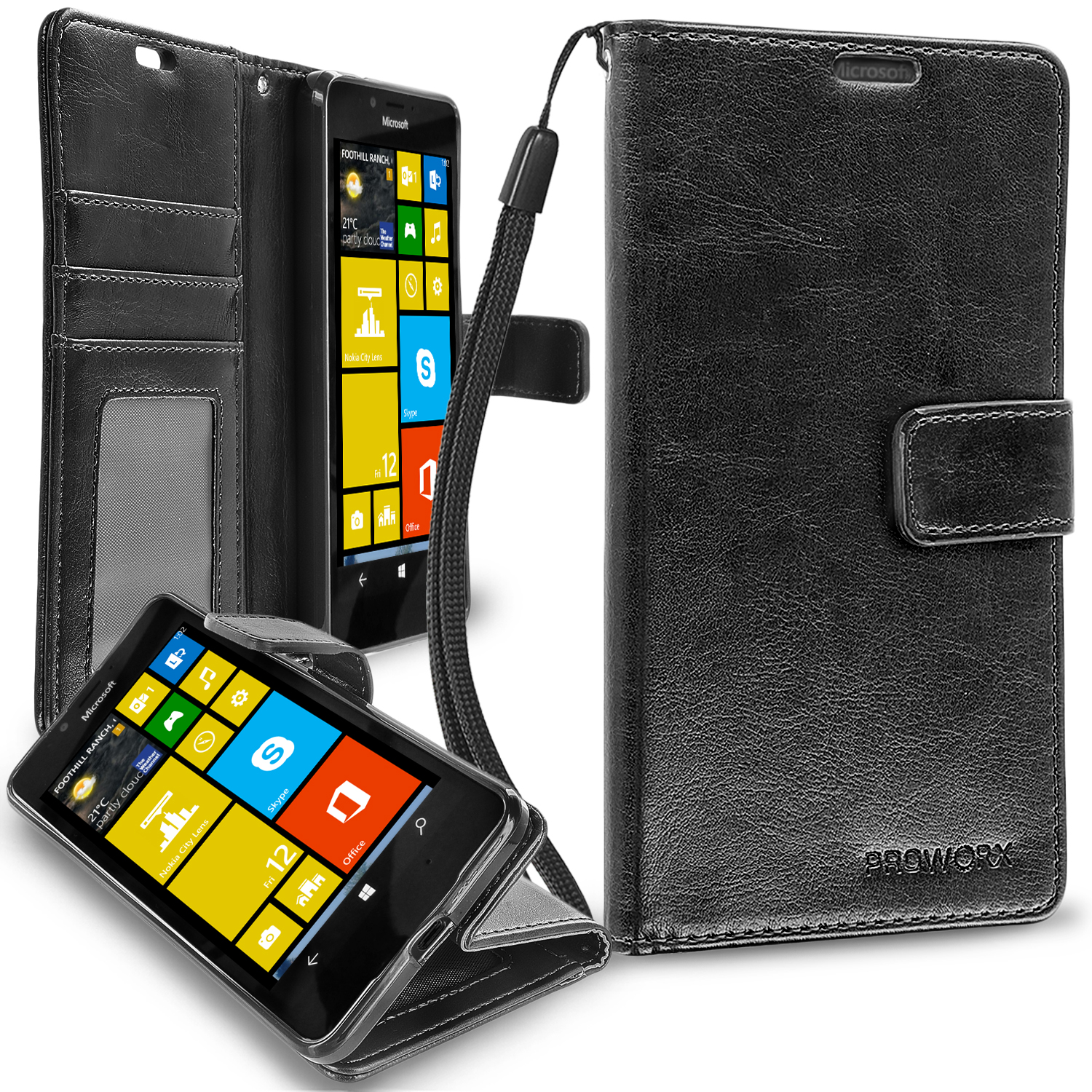 Microsoft Lumia 650 Black ProWorx Wallet Case Luxury PU Leather Case Cover With Card Slots & Stand