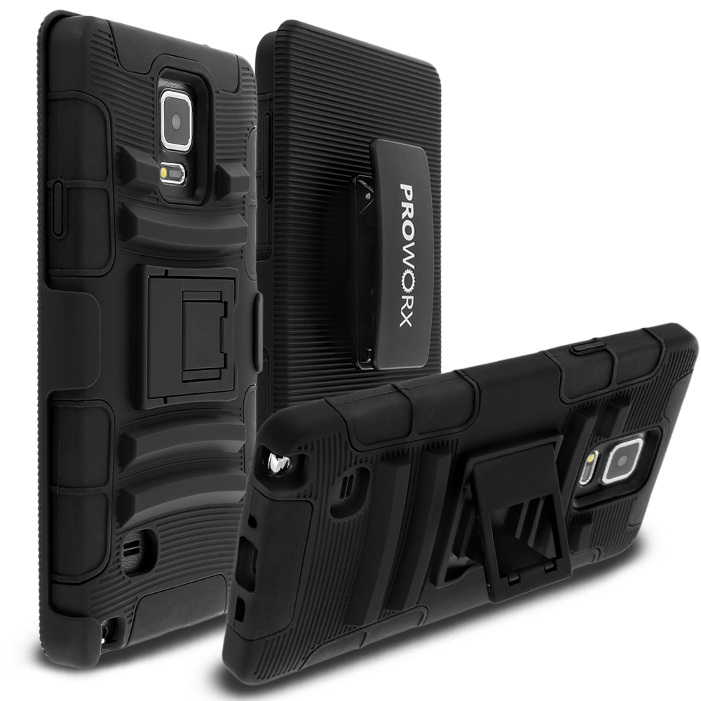 Samsung Galaxy Note 4 Black ProWorx Heavy Duty Shock Absorption Armor Defender Case Cover With Belt Clip Holster