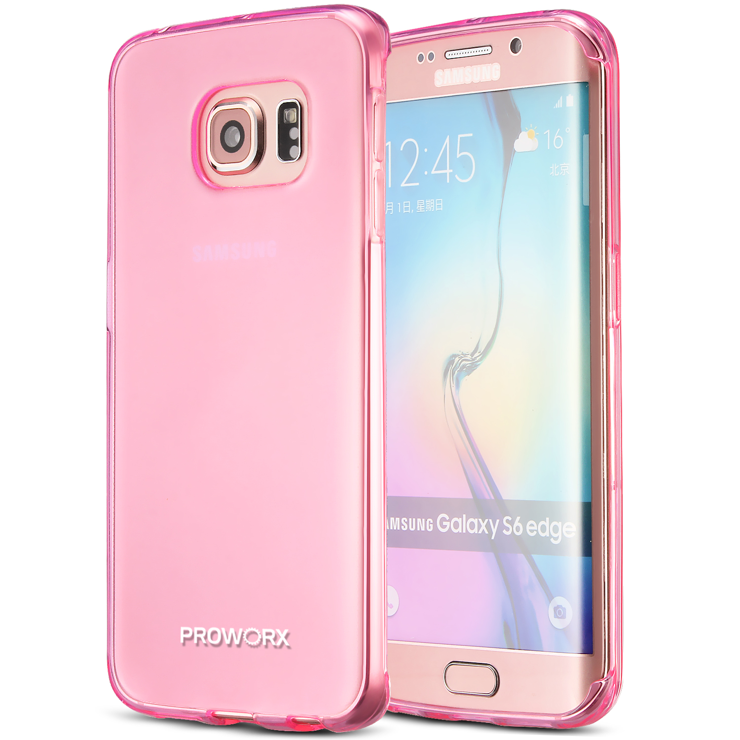 Samsung Galaxy S6 Edge Hot Pink ProWorx Ultra Slim Thin Scratch Resistant TPU Silicone Case Cover