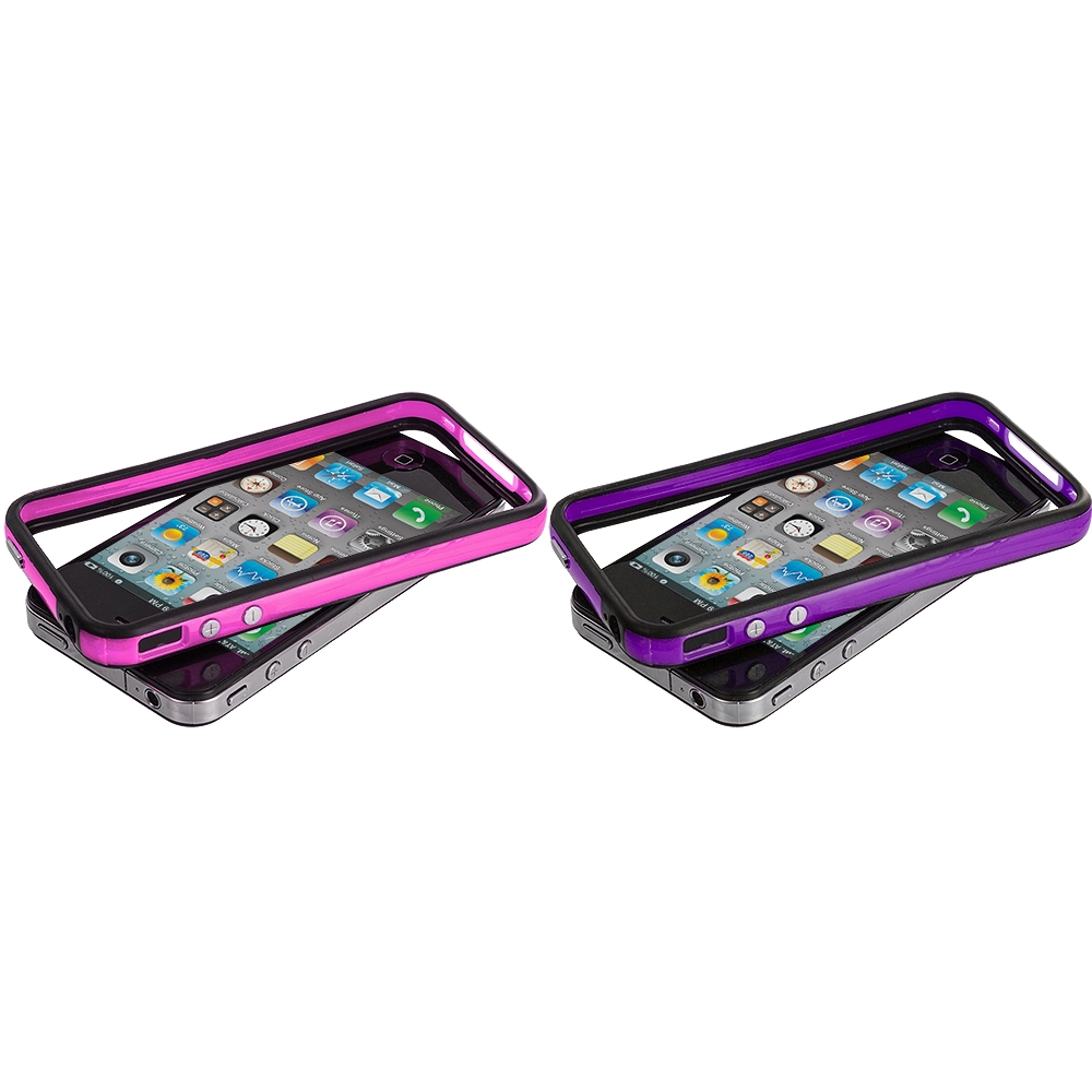 Apple iPhone 4 / 4S 2 in 1 Combo Bundle Pack - Black / Hot Pink TPU Bumper with Metal Buttons