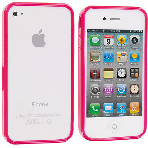 Apple iPhone 4 / 4S 2 in 1 Combo Bundle Pack - Baby Blue Pink Solid TPU Bumper : Color Hot Pink Solid